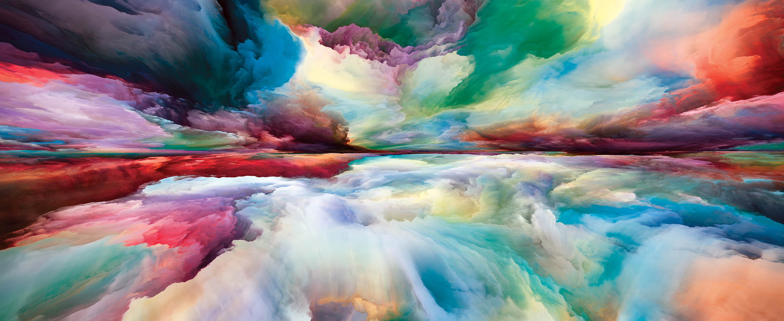 Painting of colorful clouds