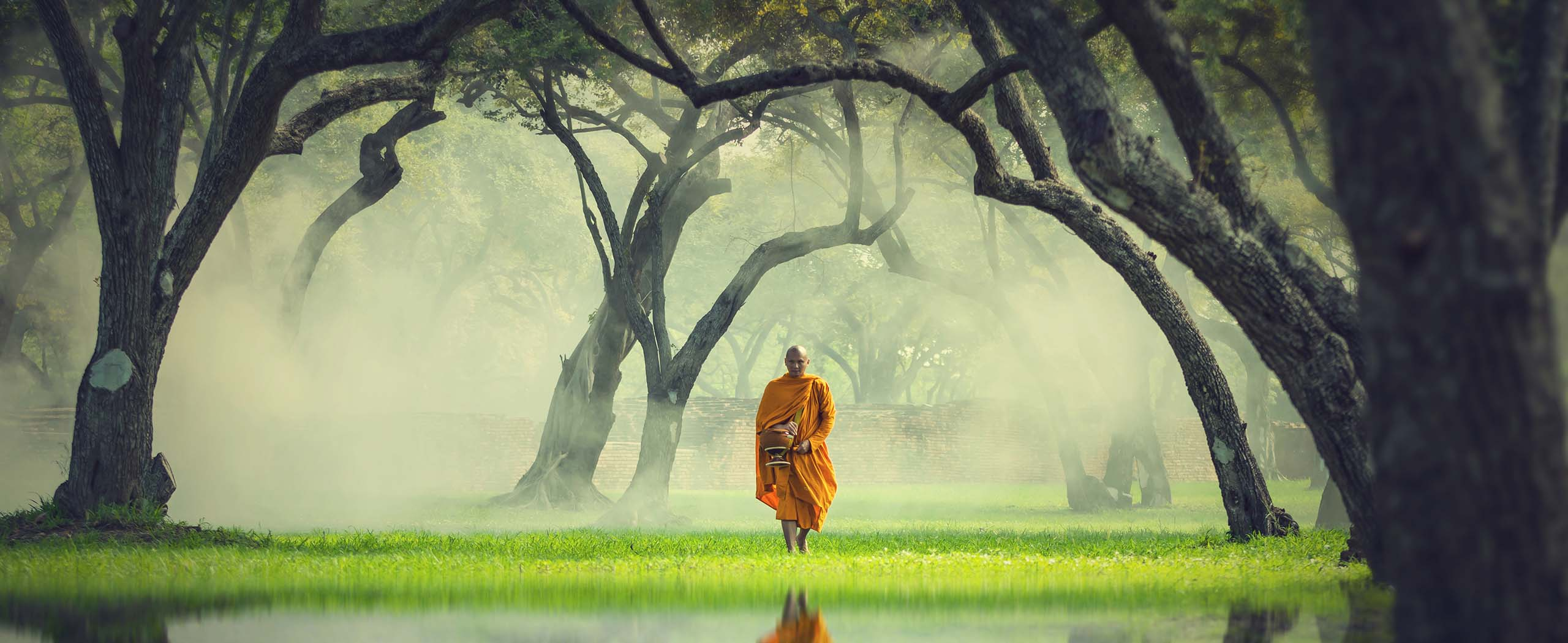 Monk walking towards the lake